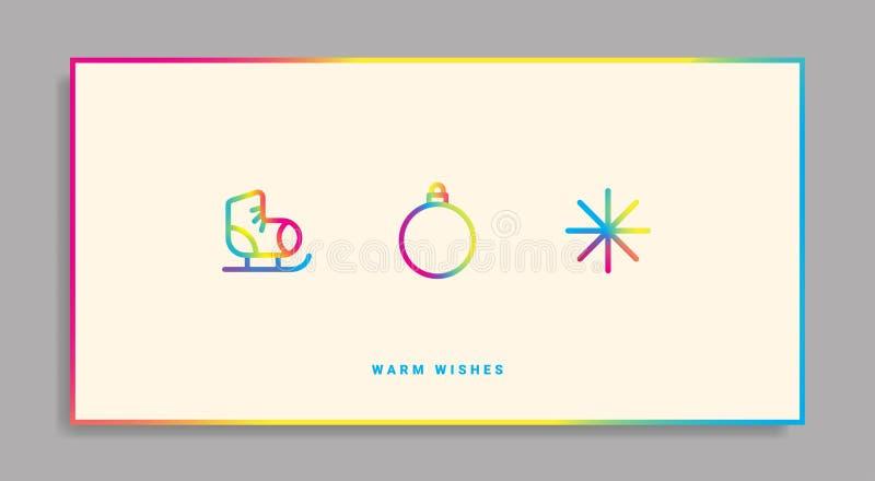 Tarjeta de felicitación de las vacaciones de invierno con los iconos de la pendiente libre illustration