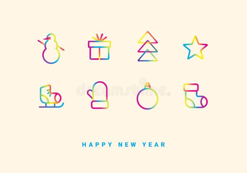 Tarjeta de felicitación de las vacaciones de invierno con los iconos de la pendiente stock de ilustración