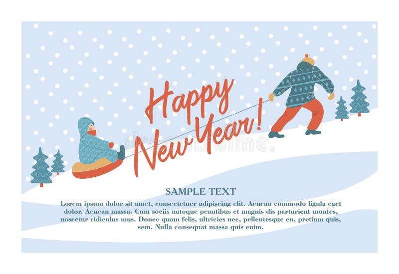 Tarjeta de felicitación linda del Año Nuevo del invierno, ejemplo del vector Papá que toma el trineo con su niño en la montaña libre illustration