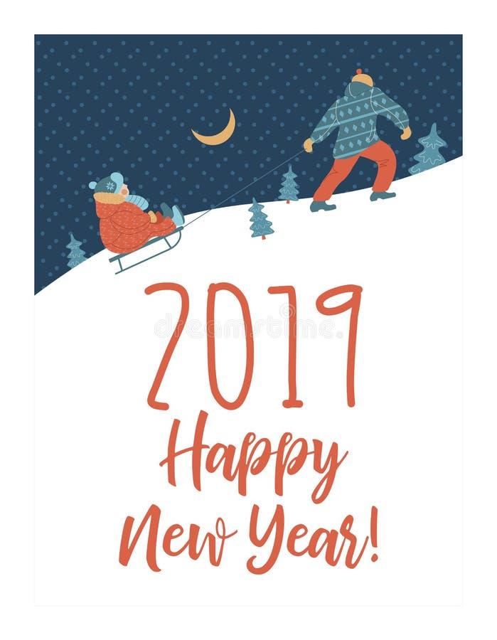 Tarjeta de felicitación linda del Año Nuevo del invierno, ejemplo del vector Papá que toma el trineo con su niño en la montaña ilustración del vector