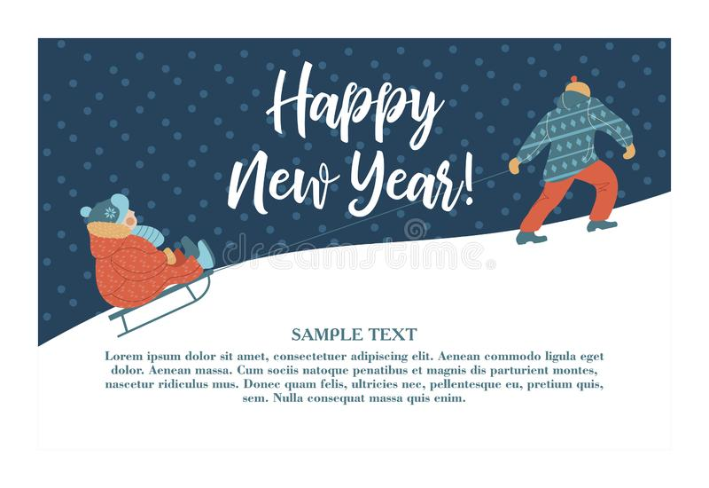 Tarjeta de felicitación linda del Año Nuevo del invierno, ejemplo del vector Papá que toma el trineo con su niño en la montaña stock de ilustración
