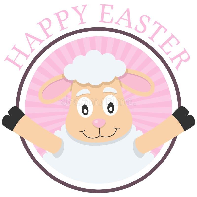 Tarjeta de felicitación linda del cordero de Pascua stock de ilustración