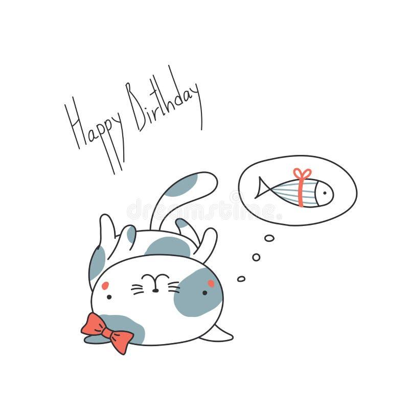Tarjeta de felicitación linda del cumpleaños con un gato stock de ilustración