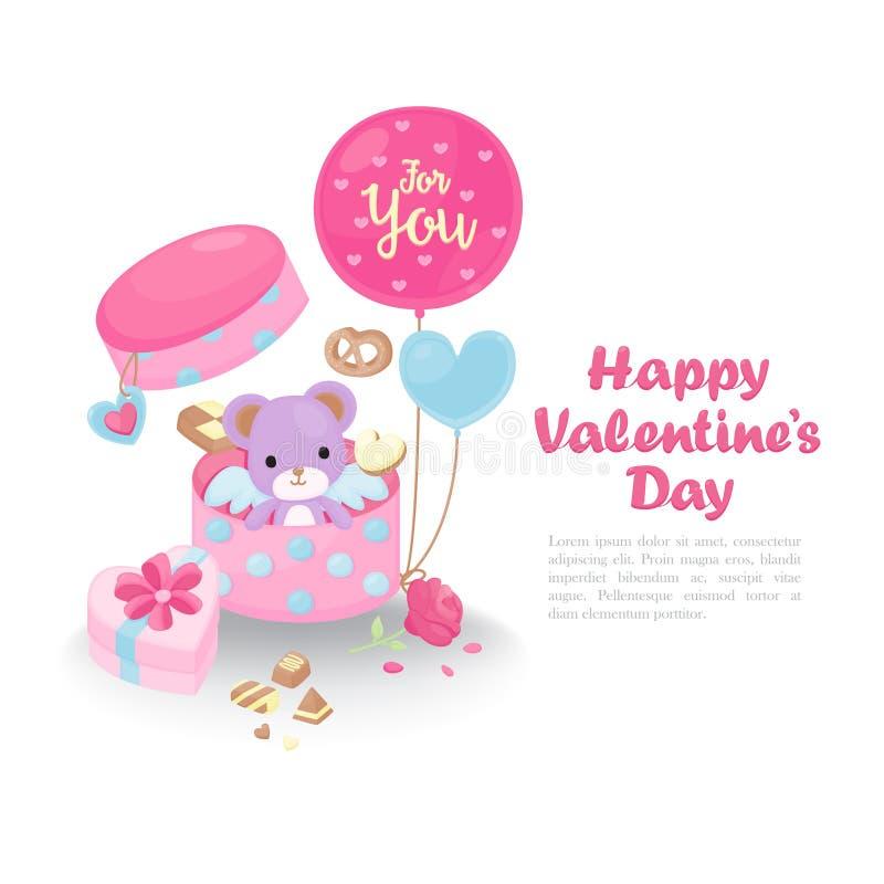 Tarjeta de felicitación linda del día del ` s de la tarjeta del día de San Valentín stock de ilustración