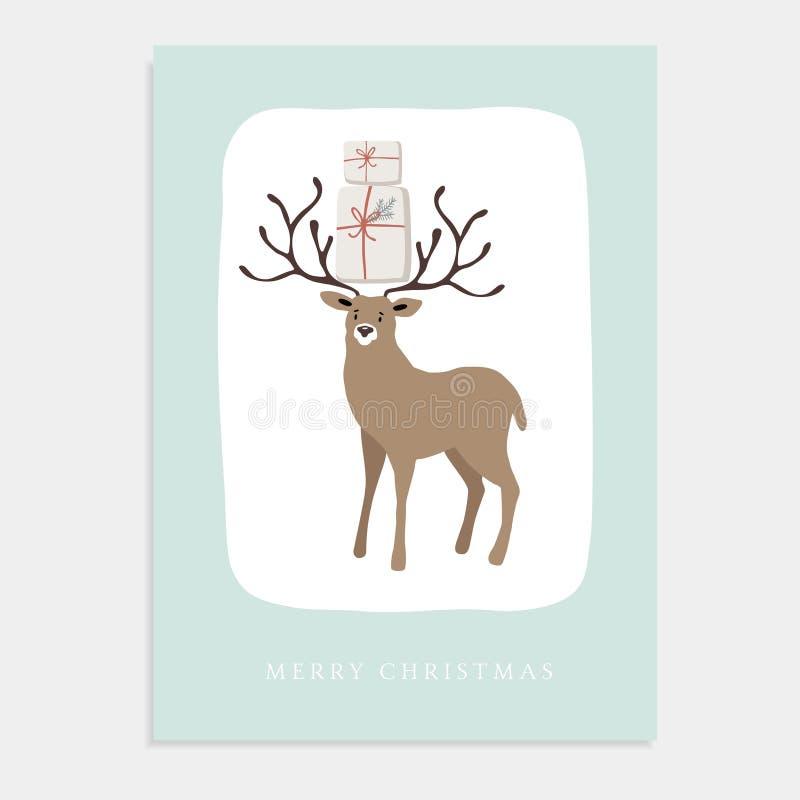Tarjeta de felicitación linda de la Feliz Navidad, invitación con el reno y cajas de regalo Diseño dibujado mano Ilustración del  stock de ilustración