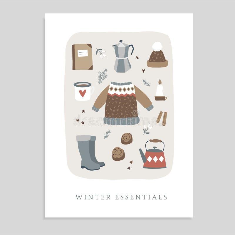 Tarjeta de felicitación linda de la Navidad, invitación con la comida esencial del invierno e iconos de la forma de vida Suéter h libre illustration
