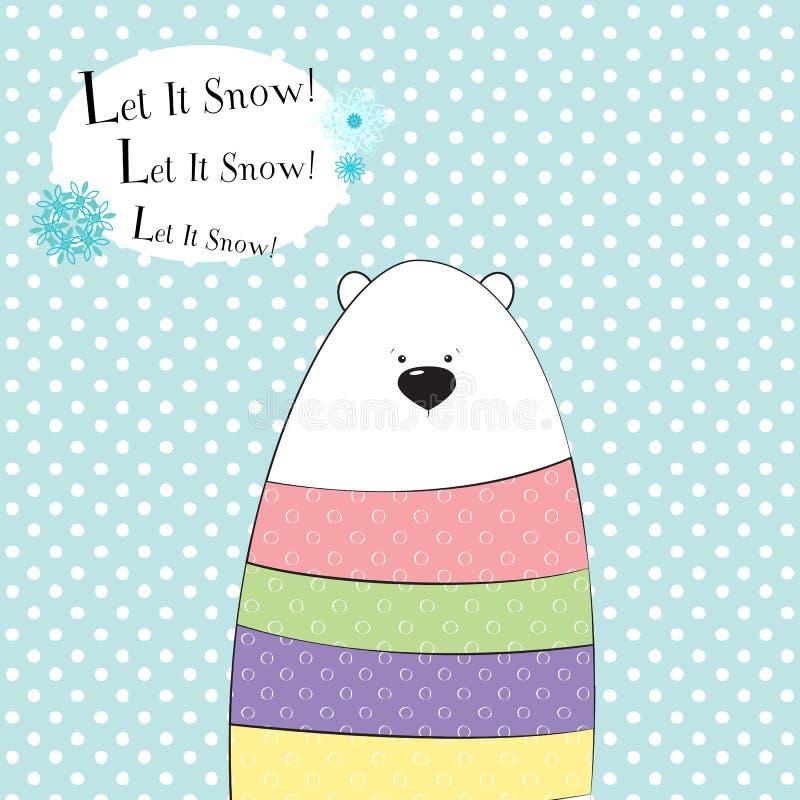 Tarjeta de felicitación linda de la Navidad Oso polar divertido en un suéter con los lunares en el fondo con los copos de nieve V ilustración del vector