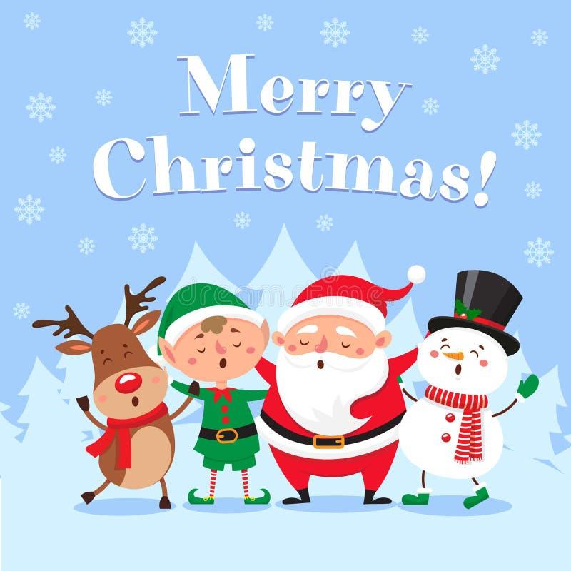 Tarjeta de felicitación linda de la Navidad Santa Claus cantante, el muñeco de nieve divertido y el duende de Navidad en nieve de stock de ilustración