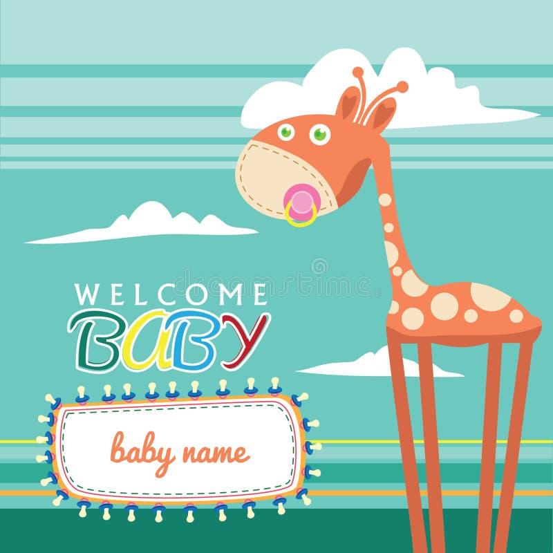 Tarjeta de felicitación llevada bebé agradable linda stock de ilustración