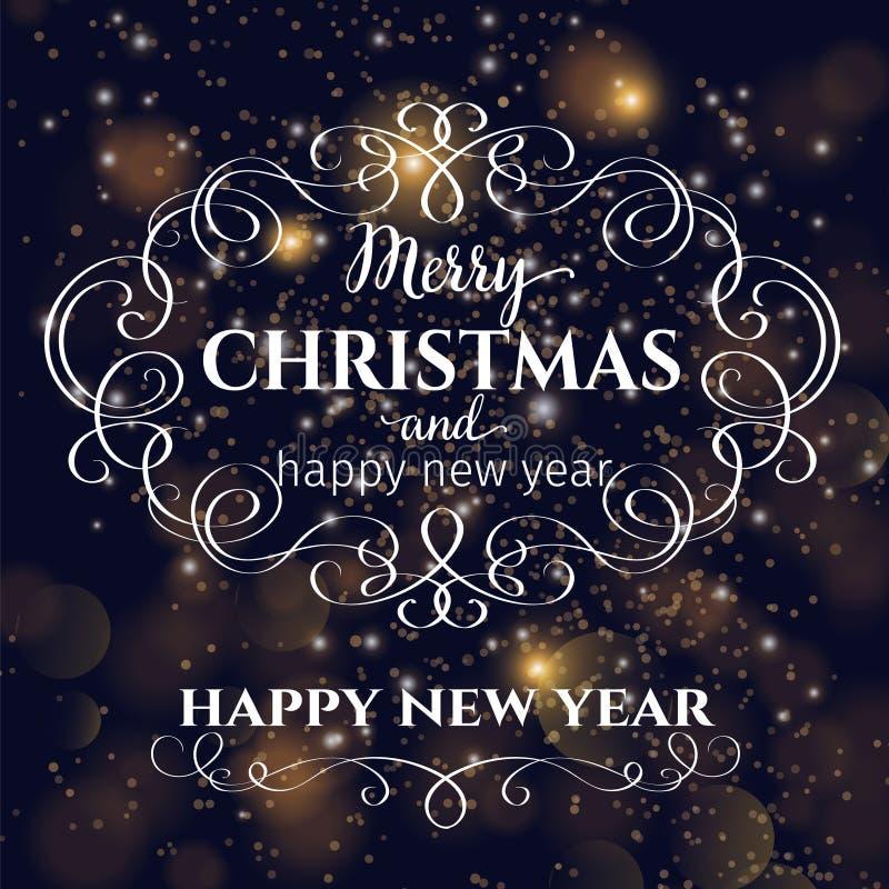 Tarjeta de felicitación de los días de fiesta de la Feliz Navidad ilustración del vector