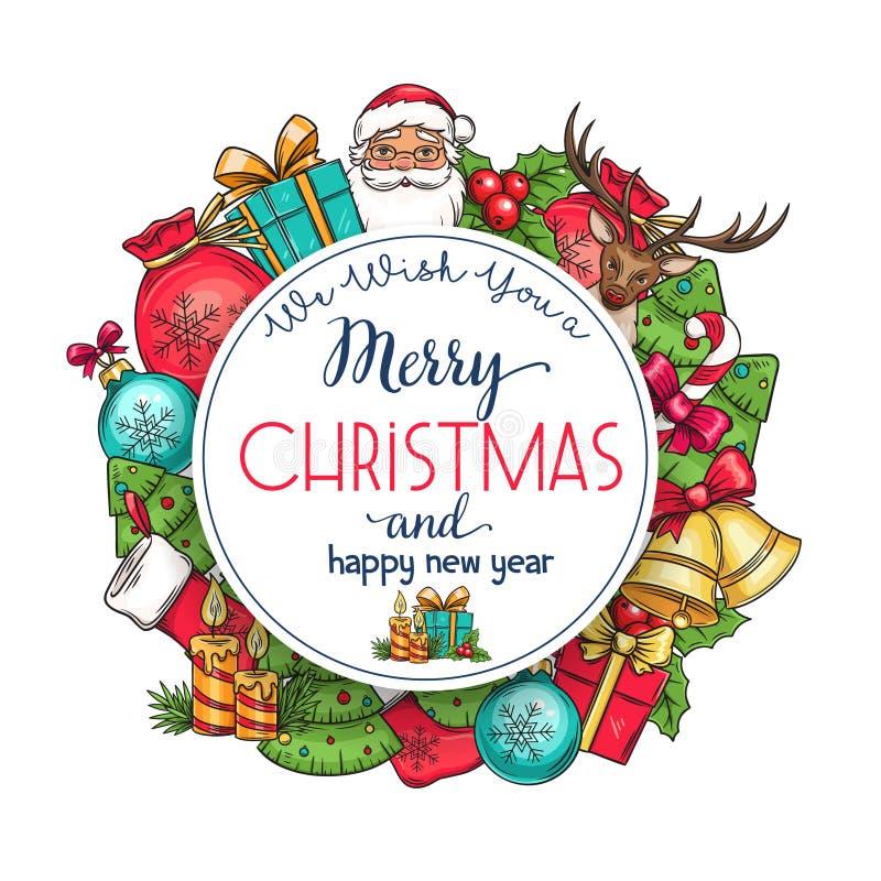 Tarjeta de felicitación de los días de fiesta de la Feliz Navidad stock de ilustración