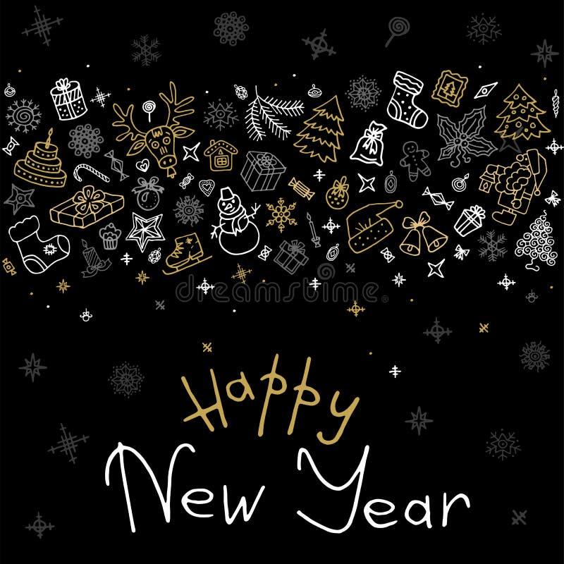 Tarjeta de felicitación de los iconos de la Feliz Año Nuevo stock de ilustración