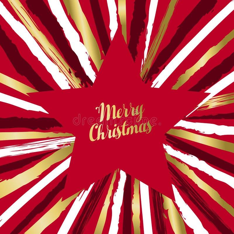Tarjeta de felicitación de lujo de la forma de la estrella de la Feliz Navidad ilustración del vector