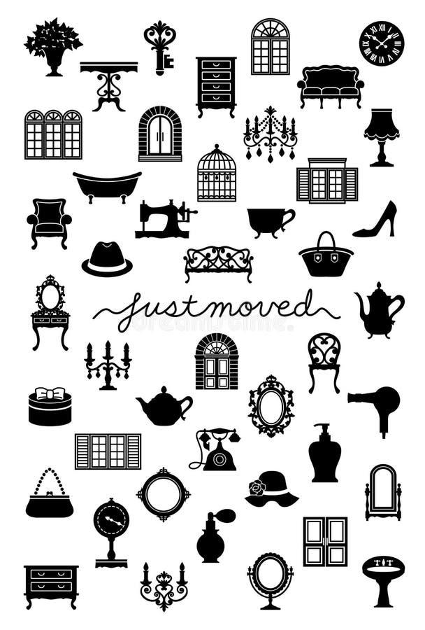 Tarjeta de felicitación móvil de la casa con el interior antiguo Apenas movido libre illustration