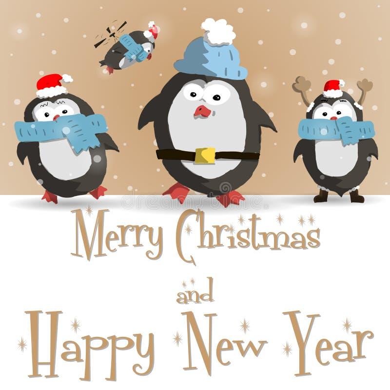 Tarjeta de felicitación marrón de los pingüinos del Año Nuevo stock de ilustración