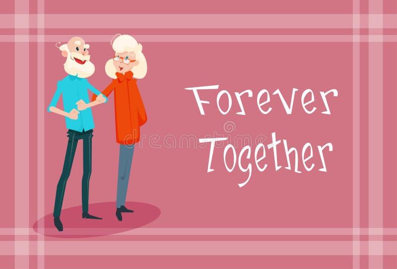 Tarjeta de felicitación mayor del día de los abuelos de las manos del control de los pares para siempre junto libre illustration
