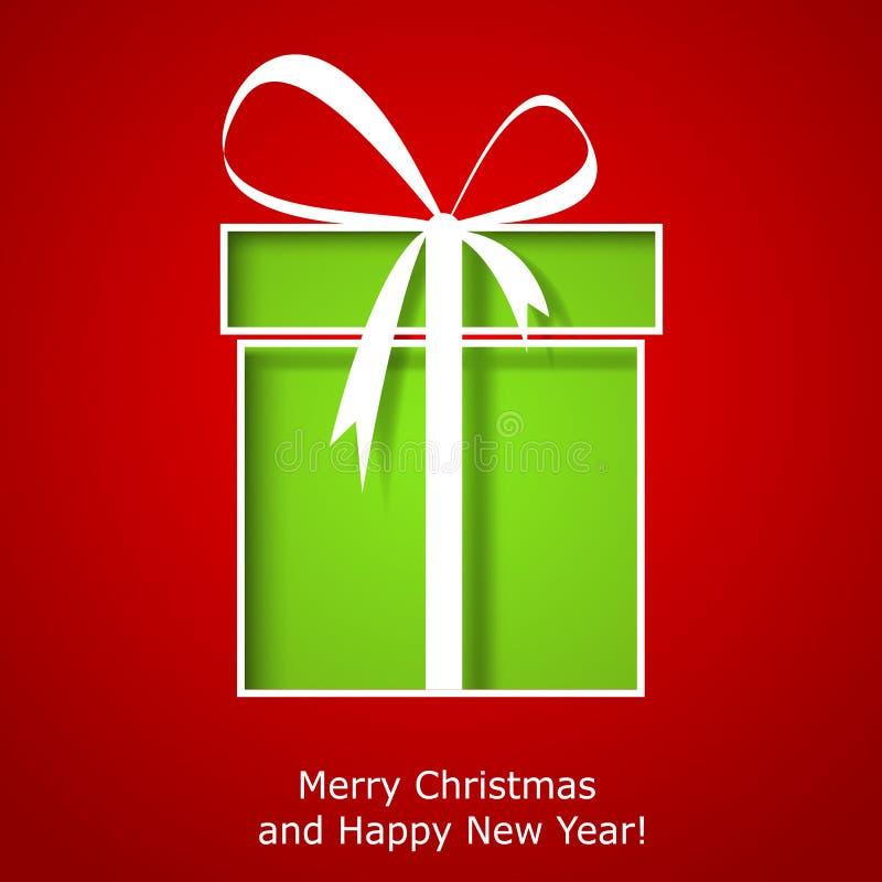 Tarjeta de felicitación moderna de Navidad con la caja de regalo de la Navidad stock de ilustración