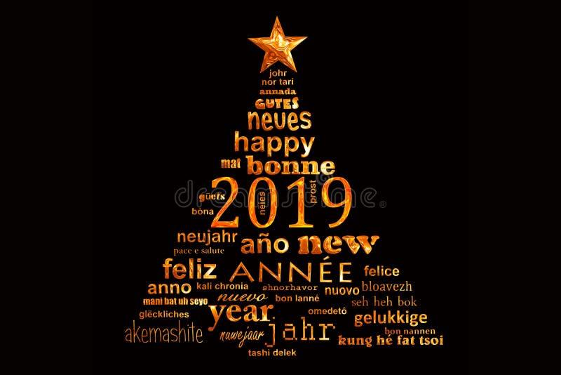 tarjeta de felicitación multilingüe de la nube de la palabra del texto del Año Nuevo 2019 en forma de un árbol de navidad stock de ilustración