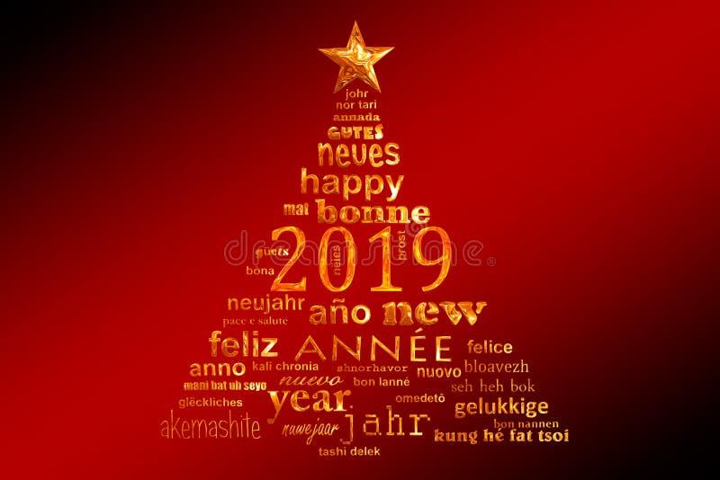 tarjeta de felicitación multilingüe de la nube de la palabra del texto del Año Nuevo 2019 en la forma de un árbol de navidad ilustración del vector