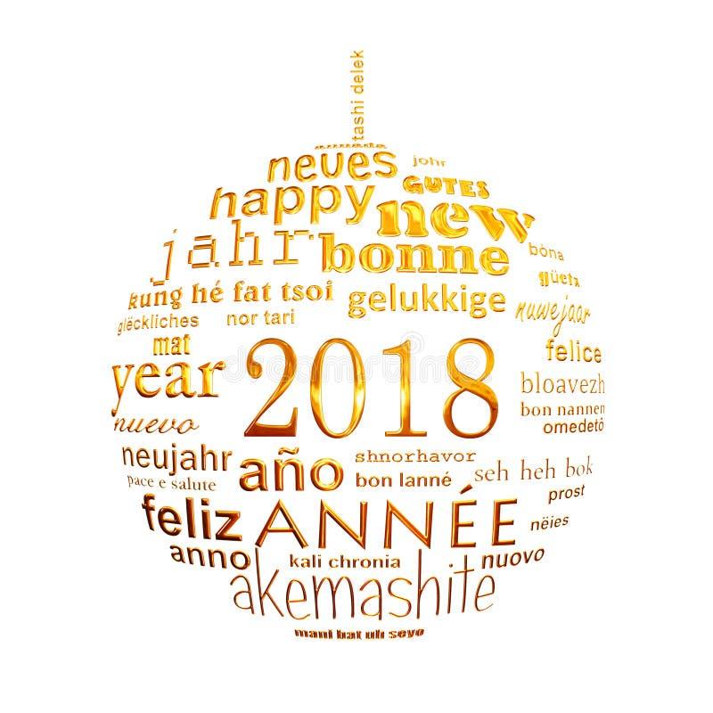 tarjeta de felicitación multilingüe de la nube de la palabra del texto del Año Nuevo 2018 en la forma de una bola de oro de la Na libre illustration