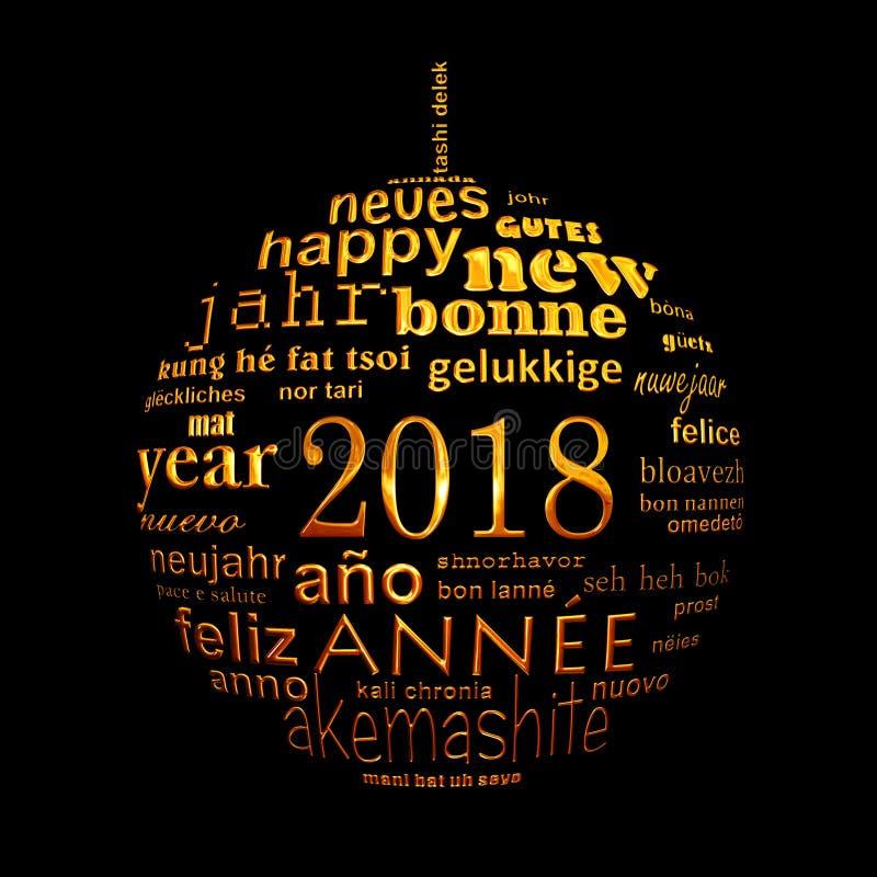 tarjeta de felicitación multilingüe de la nube de la palabra del texto del Año Nuevo 2018 en la forma de una bola de oro de la Na stock de ilustración