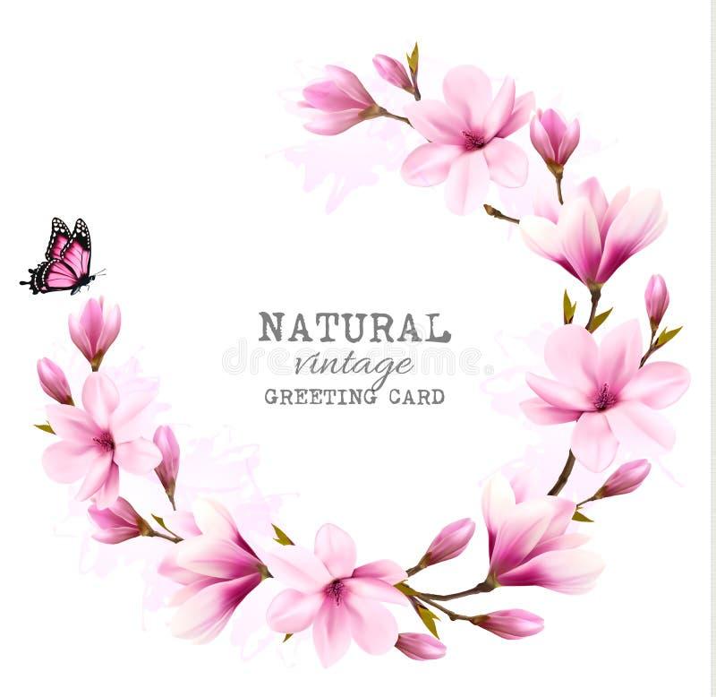 Tarjeta de felicitación natural del vintage con la magnolia rosada libre illustration