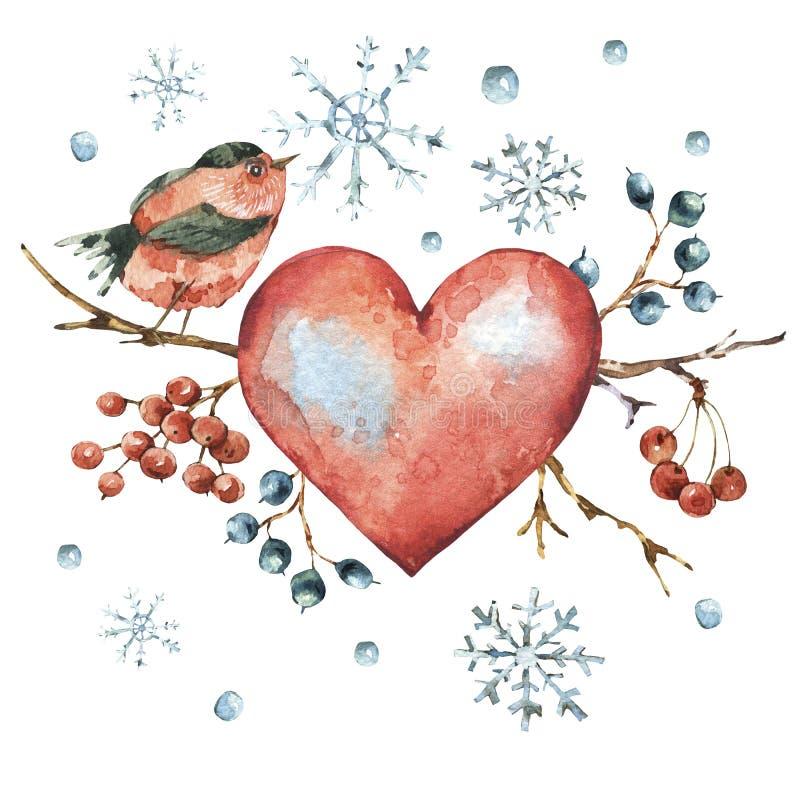 Tarjeta de felicitación natural de la acuarela del invierno con el corazón rojo, pájaro stock de ilustración