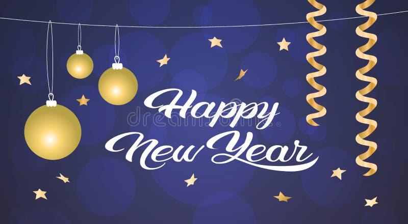 Tarjeta de felicitación de oro de la decoración de las bolas del concepto de la Feliz Año Nuevo de la Feliz Navidad horizontal ilustración del vector