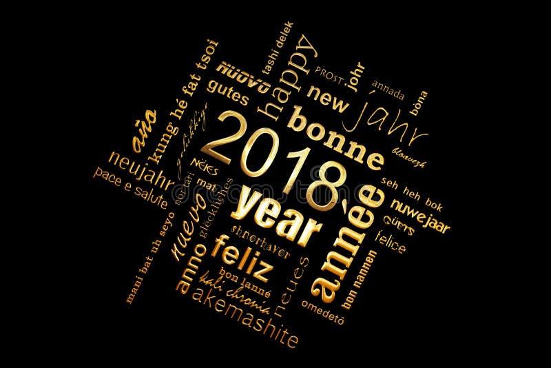 tarjeta de felicitación de oro multilingüe del cuadrado de la nube de la palabra del texto del Año Nuevo 2018 en negro stock de ilustración