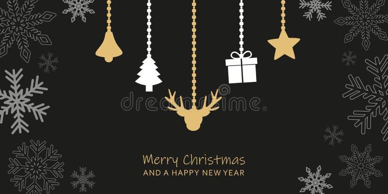 Tarjeta de felicitación oscura de la Navidad con la frontera del copo de nieve y la decoración colgante libre illustration
