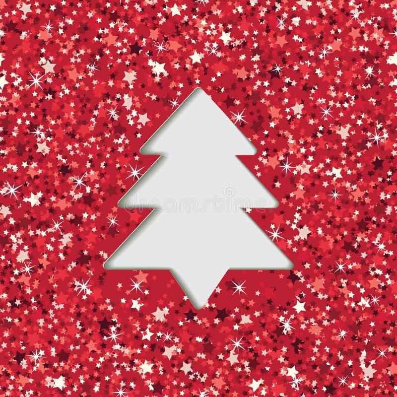 Tarjeta de felicitación de papel cortada acodada con la Navidad con efecto de la textura del brillo Ilustración del vector stock de ilustración