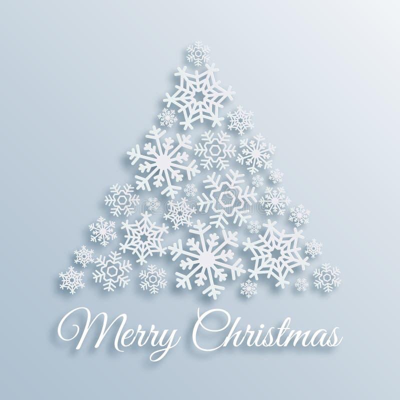 Tarjeta de felicitación de papel de la Feliz Navidad del estilo con el árbol de navidad hecho de los copos de nieve blancos Plant ilustración del vector