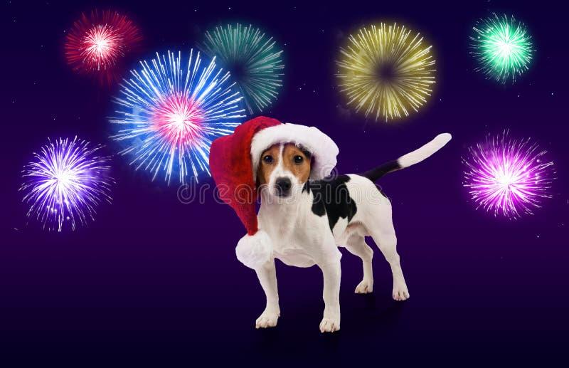 Tarjeta de felicitación para celebrar Año Nuevo y la Navidad fotos de archivo libres de regalías