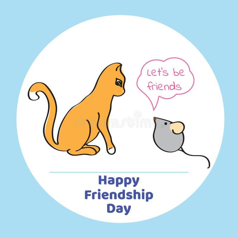 Tarjeta de felicitación para el día de la amistad Ejemplo del vector del gato y libre illustration