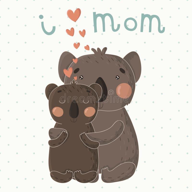 Tarjeta de felicitación para el día de madre con las koalas lindas de la historieta stock de ilustración