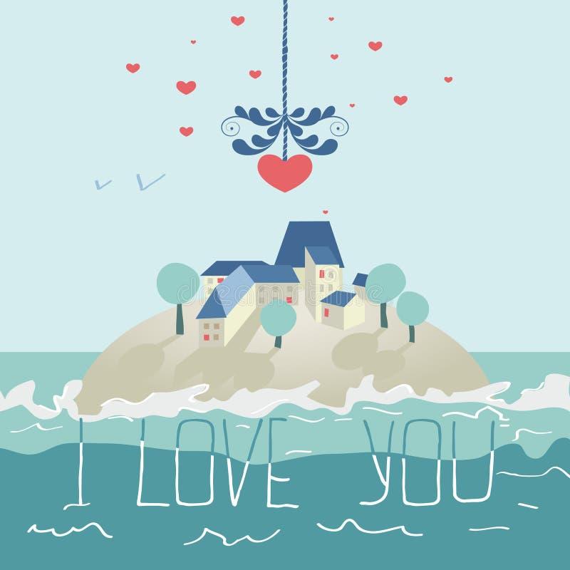 Tarjeta de felicitación para el día de tarjetas del día de San Valentín stock de ilustración