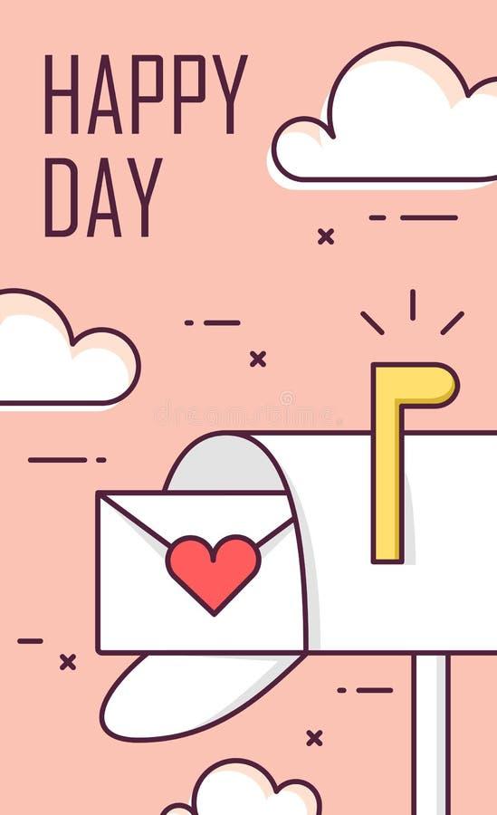 Tarjeta de felicitación para el día del ` s de la tarjeta del día de San Valentín con el buzón, el sobre y las nubes Línea fina d stock de ilustración
