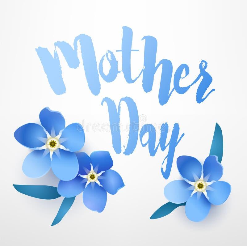 Tarjeta de felicitación para el día del ` s de la madre con nomeolvides en el fondo blanco Vector la bandera floral stock de ilustración