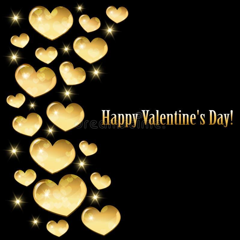 Tarjeta de felicitación para el día de tarjeta del día de San Valentín con los corazones de oro libre illustration