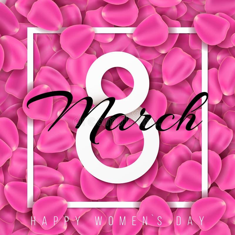 Tarjeta de felicitación para el 8 de marzo Día internacional del ` s de las mujeres Número de papel 8 con el texto en pétalos del imagen de archivo libre de regalías