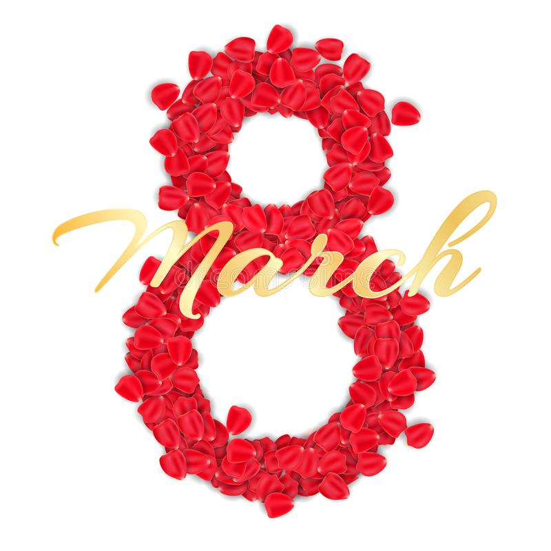 Tarjeta de felicitación para el 8 de marzo en el fondo blanco folleto lujoso para el día para mujer feliz Cuadro 8 de pétalos col ilustración del vector