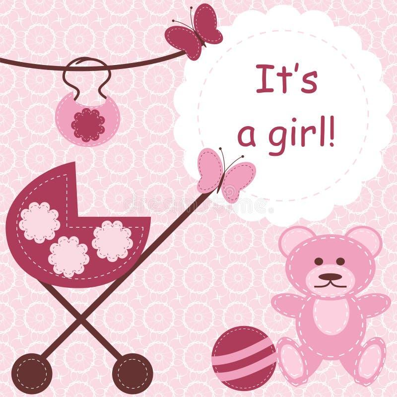 tarjeta de felicitación para la muchacha recién nacida stock de ilustración