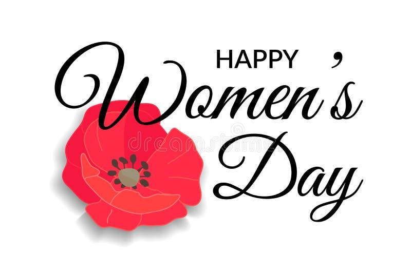 Tarjeta de felicitación para mujer del día Poniendo letras a diseño caligráfico en el negro aislado en el fondo blanco con la ama stock de ilustración