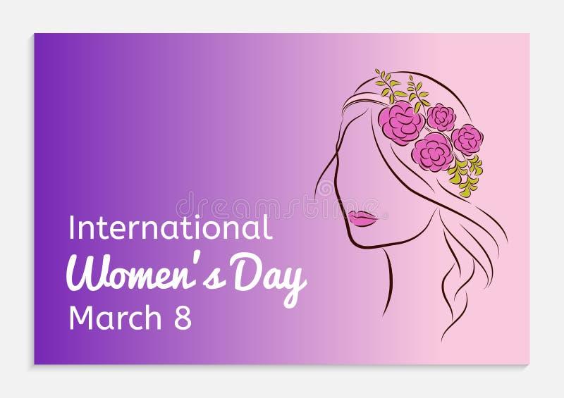 Tarjeta de felicitación para mujer internacional del día Silueta de una muchacha hermosa en un borde con las flores en su cabeza  stock de ilustración