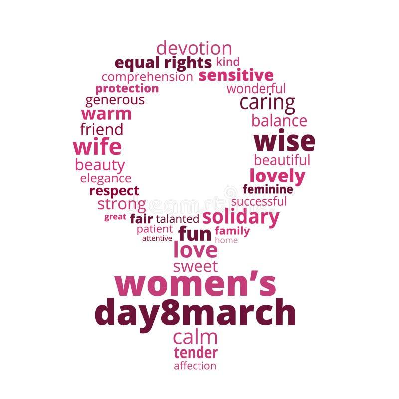 Tarjeta de felicitación para mujeres internacionales día el 8 de marzo Tarjeta corporativa o de visita con la muestra femenina he libre illustration