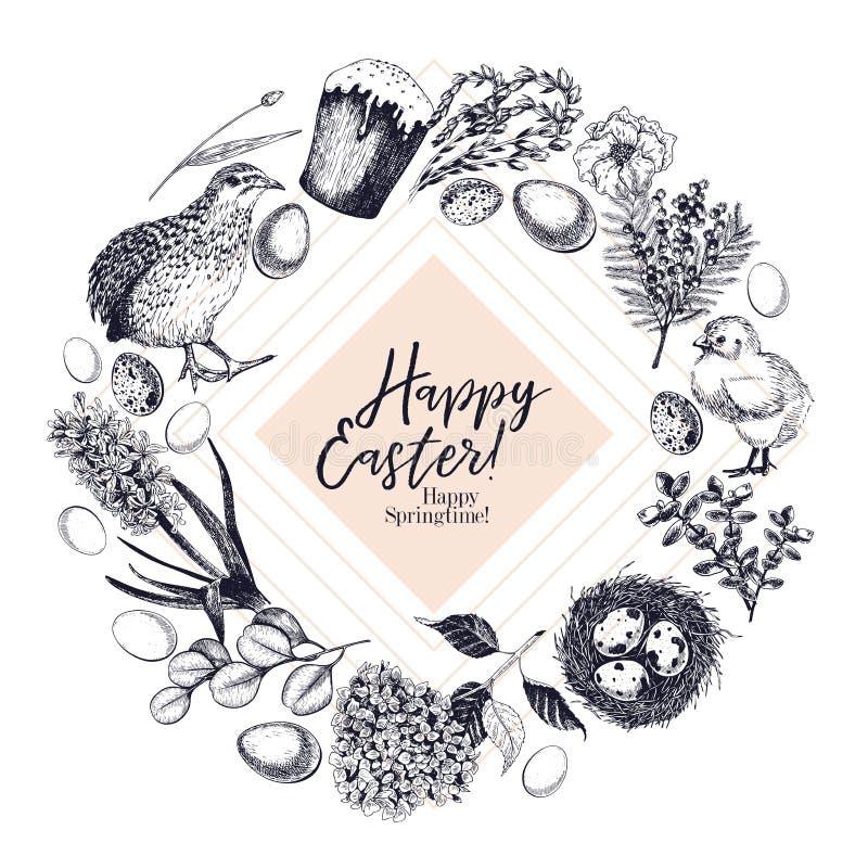 Tarjeta de felicitación de Pascua Bandera drenada mano del vector Huevos, jerarquía, torta, rama del sauce, codorniz, hortensia,  libre illustration