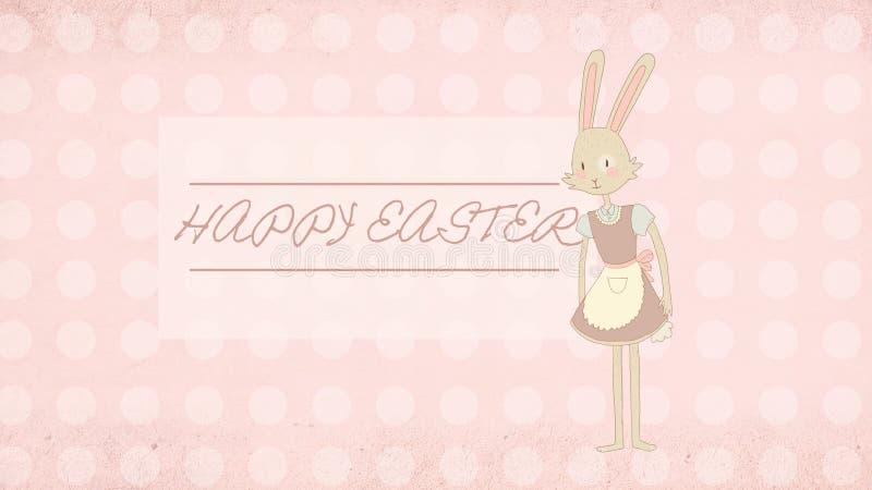 Tarjeta de felicitación de Pascua con el ejemplo lindo del conejito ilustración del vector