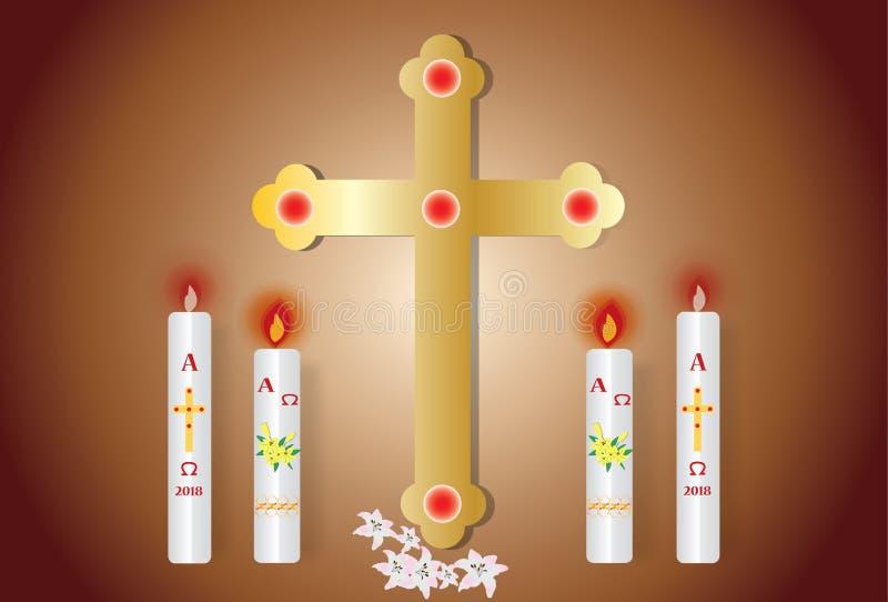 Tarjeta de felicitación de Pascua con la vela ardiente fotos de archivo