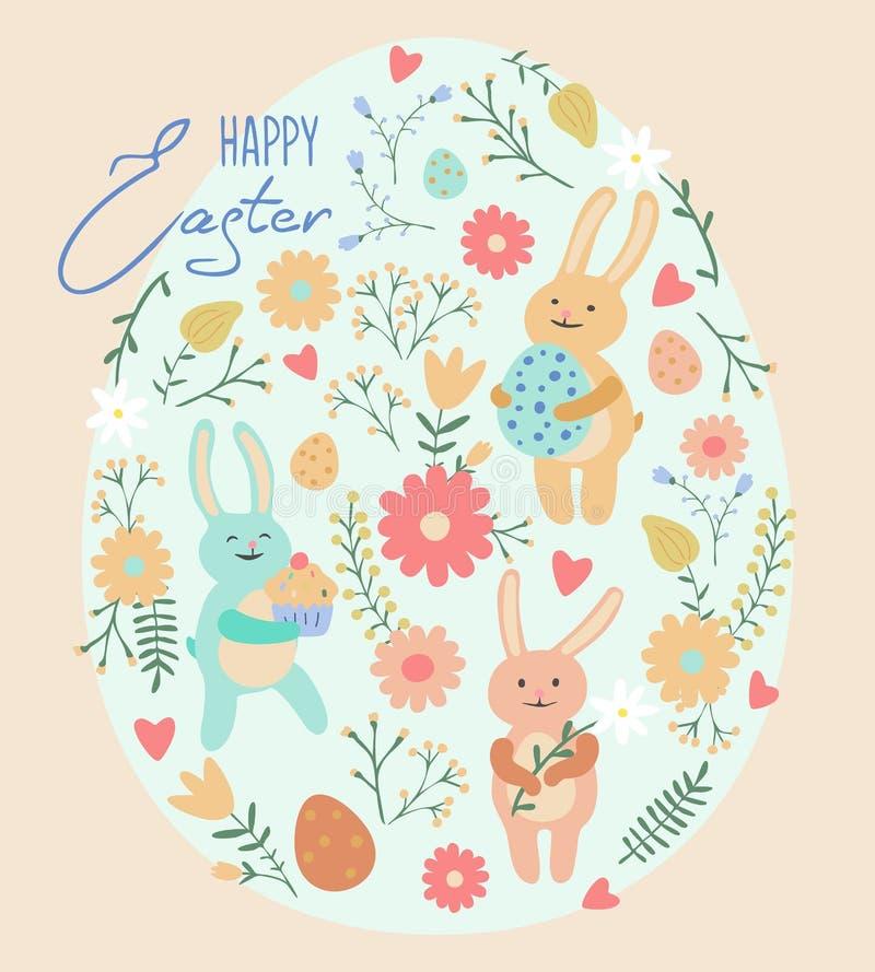 Tarjeta de felicitación de Pascua con los conejos y los huevos lindos ilustración del vector