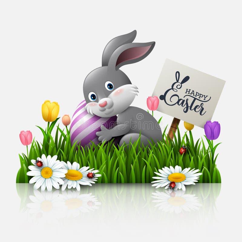 Tarjeta de felicitación de Pascua con un pequeño conejo, huevos, y flores en la hierba stock de ilustración